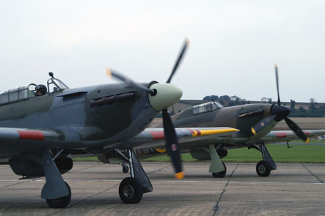 Two Hawker Hurricane's at the Septmber Air Show of the Imperial War Museum at Duxford, United Kingdom